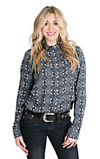 Wrangler Women's Blue and White Geometry Print Long Sleeve Western Snap Shirt