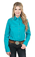Wrangler Women's Turquoise Long Sleeve Western Snap Shirt