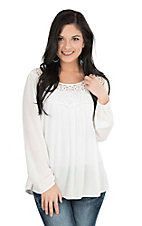 Wrangler Women's Cream with Crochet Trim Long Cinched Sleeve Fashion Top