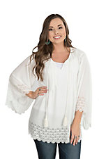 Wrangler Women's White with Tie and Tassel 3/4 Bell Sleeves Fashion Top