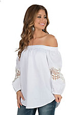 Wrangler Women's White Off the Shoulder with Crochet Peasant Sleeves Fashion Top