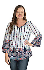 Wrangler Women's White with Aztec Print Long Bell Sleeve Fashion Top