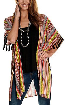 Wrangler Women's Orange and Yellow Blanket Stripe with Fringe Kimono