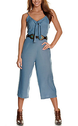Wrangler Women's Chambray with Tie Sleeveless Cropped Jumpsuit