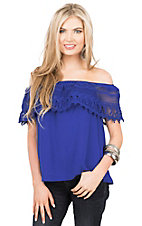 Wrangler Women's Blue with Crochet Ruffle Neckline Short Sleeve Fashion Top