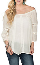 Wrangler Women's Ivory Off the Shoulder with Lace Detail 3/4 Sleeve Fashion Shirt