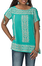 Wrangler Women's Teal with Cream Stitching and Tassels S/S Fashion Shirt