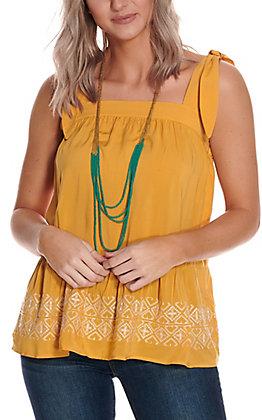 Wrangler Retro Women's Yellow with White Embroidery Tie Strap Sleeve Fashion Tank Top
