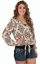 Wrangler Women's Cream and Blue Aztec Print Tie Front Top