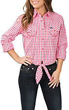 Wrangler Women's Pink Gingham Crop Top Western Shirt