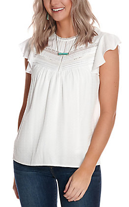 Wrangler Women's White with Lace Flutter Cap Sleeves Fashion Top