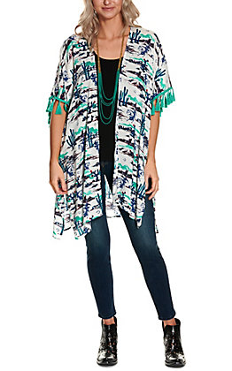 Wrangler Women's White and Teal Cactus & Cowboy Western Scene with Tassels Kimono