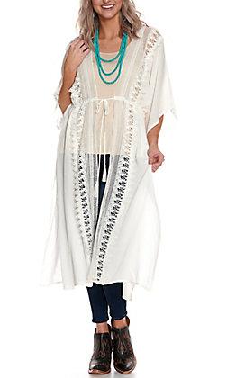 Wrangler Retro Women's White with Lace Tie Front Duster Kimono