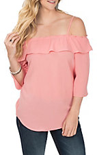 Wrangler Women's Coral Off the Shoulder Fashion Shirt