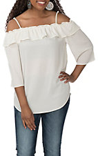Wrangler Women's Cream Off the Shoulder Fashion Shirt