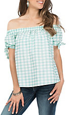 Wrangler Women's Mint Gingham Off the Shoulder S/S Fashion Shirt