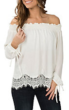 Wrangler Women's Cream Lace Off the Shoulder Fashion Shirt