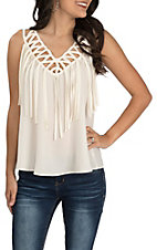 Wrangler Women's Ivory with Fringe Neckline Sleeveless Fashion Tank Top