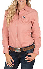 Wrangler Women's Rose Pink Long Sleeve Western Shirt