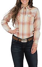 Wrangler Women's Cream, Orange and Yellow Plaid Long Sleeve Western Shirt