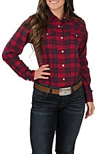 Wrangler Women's Red and Navy Plaid Long Sleeve Western Shirt