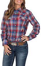 Wrangler Women's Red, White and Blue Plaid Long Sleeve Western Shirt
