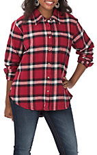 Wrangler Women's Red and Navy Plaid Long Sleeve Boyfriend Fit Flannel Shirt