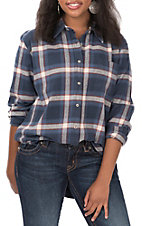 Wrangler Women's Blue and Red Plaid Long Sleeve Boyfriend Fit Flannel Shirt