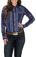 Wrangler Women's Blue with Red and White Aztec Print Long Sleeve Western Shirt