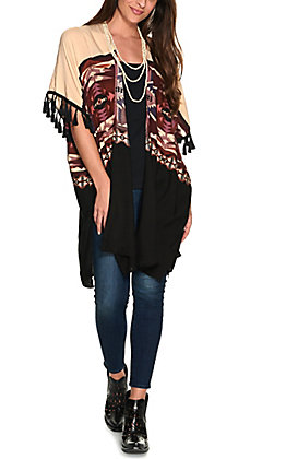 Wrangler Retro Women's Tan and Burgundy Aztec Print with Tassels Kimono