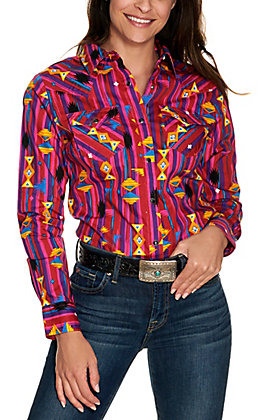 Wrangler Retro Women's Pink and Purple Aztec Print Long Sleeve Western Shirt