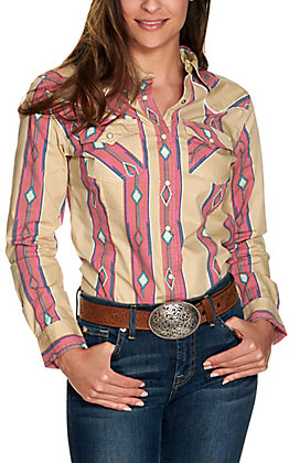 Wrangler Retro Women's Tan with Pink and Blue Aztec Long Sleeve Western Shirt
