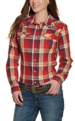 Wrangler Retro Women's Red and Purple Plaid with Rose Embroidery Long Sleeve Western Shirt