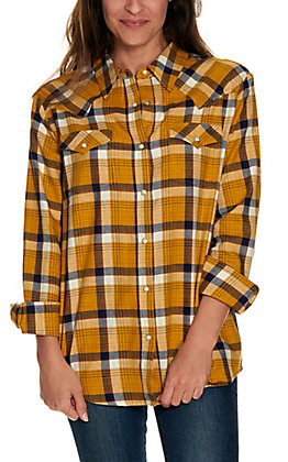 Wrangler Retro Women's Mustard, White and Navy Plaid Long Sleeve Boyfriend Flannel Shirt