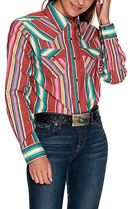Wrangler Retro Women's Multi Serape Print Long Sleeve Boyfriend Fit Western Shirt
