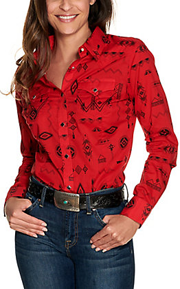 Wrangler Retro Women's Red with Black Aztec Print Long Sleeve Western Shirt