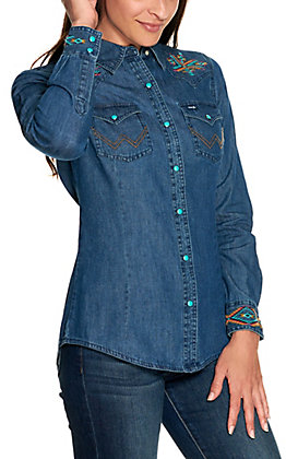 Wrangler Retro Women's Denim with Aztec Embroidery and Turquoise Snaps Long Sleeve Western Shirt