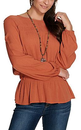 Wrangler Retro Women's Rust Orange with Long Balloon Sleeves Fashion Top