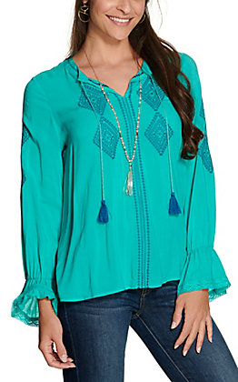 Wrangler Retro Women's Turquoise with Aztec Embroidery and Lace Long Sleeve Peasant Top