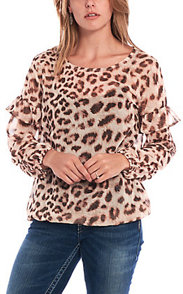 Wrangler Women's Cream Leopard Print Long Sleeve Fashion Top