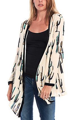 Wrangler Women's Cream Cactus Print Long Sleeve Kimono