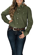 Wrangler Women's Olive Corduroy Woven Long Sleeve Western Snap Shirt