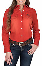 Wrangler Women's Red Long Sleeve Western Shirt