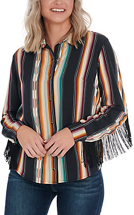 Wrangler Women's Serape Striped Fringe Long Sleeve Top