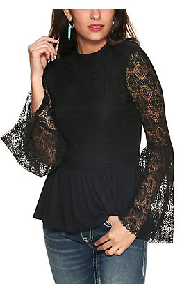 Wrangler Retro Women's Black Lace with Ruffle Bottom Long Bell Sleeve Fashion Top