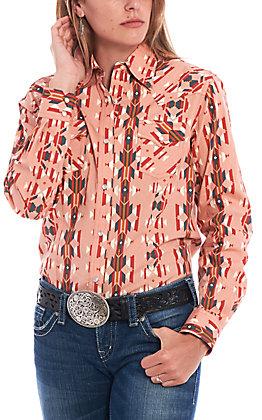 Wrangler Women's Checotah Blush Aztec Print Long Sleeve Western Shirt