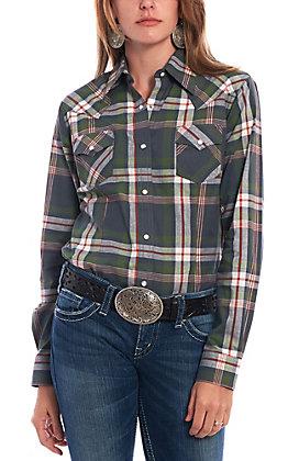Wrangler Women's Dark Green Plaid Long Sleeve Western Shirt