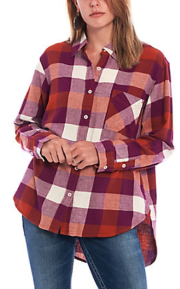 Wrangler Women's Rust & Purple Plaid Long Sleeve Boyfriend Flannel