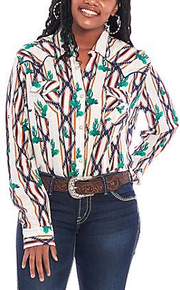 Wrangler Women's Checotah Cream Aztec & Cactus Print Long Sleeve Western Shirt