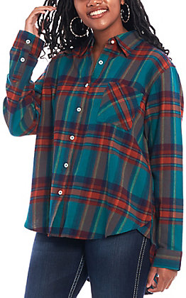 Wrangler Women's Teal Plaid Long Sleeve Boyfriend Flannel
